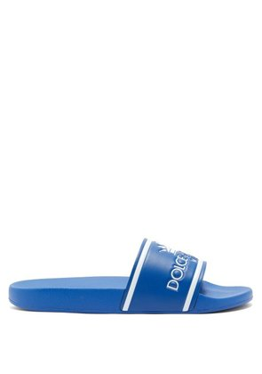 Dolce & Gabbana - Logo Embossed Leather And Rubber Slides - Mens - Blue