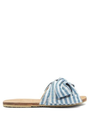Brother Vellies - X Ace & Jig Burkina Leather Slides - Womens - Blue Stripe