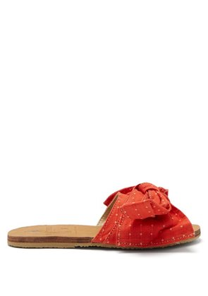 Brother Vellies - X Ace & Jig Burkina Leather And Canvas Slides - Womens - Red Multi