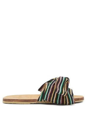 Brother Vellies - X Ace & Jig Burkina Striped Bow Slides - Womens - Black Multi