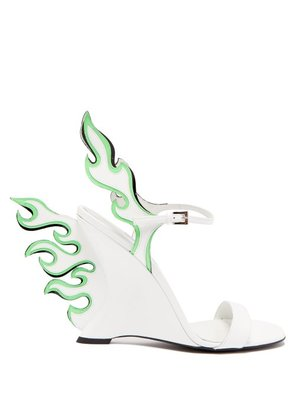 Prada - Flame Patent Leather Sandals - Womens - White