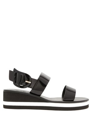 Ancient Greek Sandals - Clio Rainbow Wedge Heel Patent Leather Sandals - Womens - Black