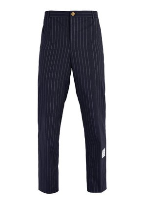 Thom Browne - Chalk Stripe Cotton Chino Trousers - Mens - Navy