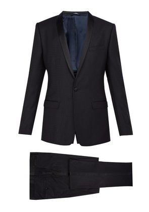Dolce & Gabbana - Gold Fit Satin Striped Wool Blend Suit - Mens - Navy