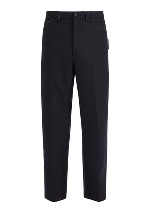Lanvin - Contrast Stitch Wool Trousers - Mens - Navy