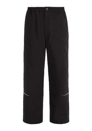 Lanvin - Cotton Blend Wide Leg Trousers - Mens - Black