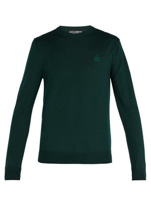 Dolce & Gabbana - Virgin Wool Crew Neck Sweater - Mens - Green