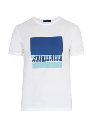Frescobol Carioca - Wave Printed Cotton Jersey T Shirt - Mens - White Multi