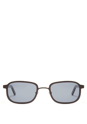 Blyszak - Iii Square Frame Metal And Horn Sunglasses - Mens - Black