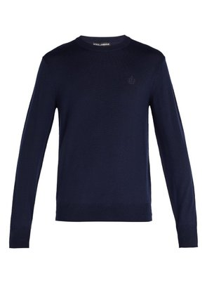 Dolce & Gabbana - Crown Embroidered Wool Sweater - Mens - Navy