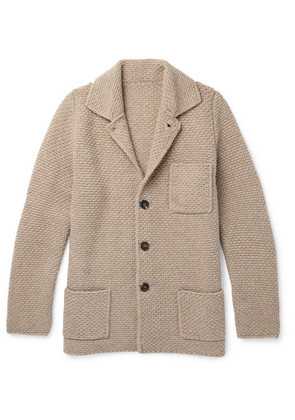 Anderson & Sheppard - Slim-fit Textured Wool And Cashmere-blend Cardigan - Mushroom