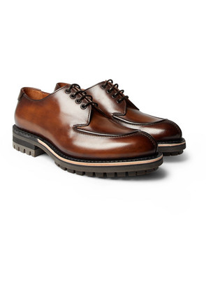 Berluti - Contrast Oslo Leather Derby Shoes - Brown