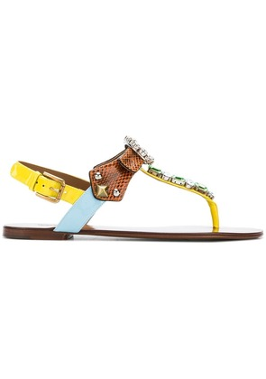 Dolce & Gabbana embellished thong sandals - Multicolour