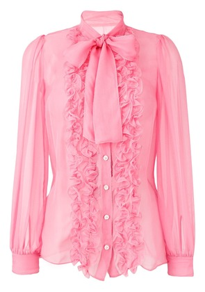 Dolce & Gabbana ruffle trim sheer blouse with pussybow - Pink