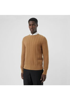 Burberry Cable Knit Cashmere Sweater, Brown