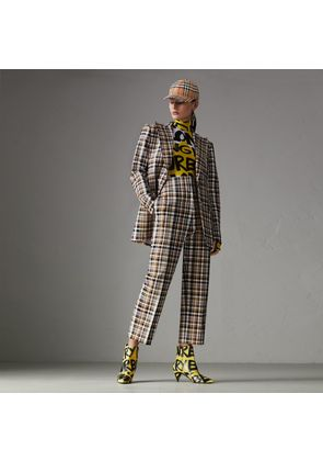 Burberry Check Stretch Cotton High-waisted Trousers