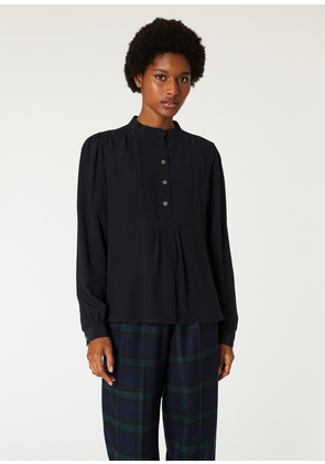 Women's Black Band-Collar Silk Shirt