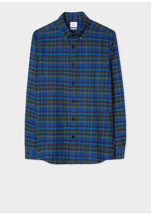 Men's Tailored-Fit Navy And Black Check Cotton Shirt