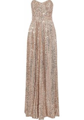 Badgley Mischka Woman Strapless Gathered Sequined Mesh Gown Antique Rose Size 4