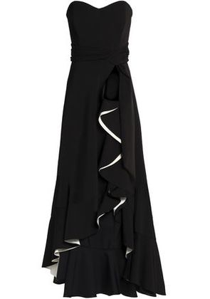 Badgley Mischka Woman Strapless Ruffled Crepe Gown Black Size 8