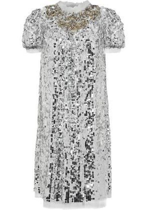 Dolce & Gabbana Woman Crystal And Sequin-embellished Tulle Dress Silver Size 42