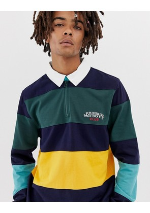 Billionaire Boys Club panel stripe rugby long sleeve polo shirt in navy - Navy