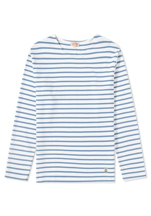 Armor-Lux 02297 Long Sleeve Mariniere Tee White & Moody Blue