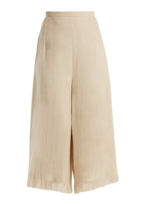 Andrew Gn - Wide Leg Frayed Cuff Linen Cropped Trousers - Womens - Beige