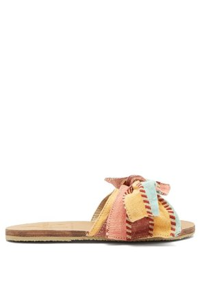 Brother Vellies - X Ace & Jig Burkina Leather And Canvas Slides - Womens - Multi