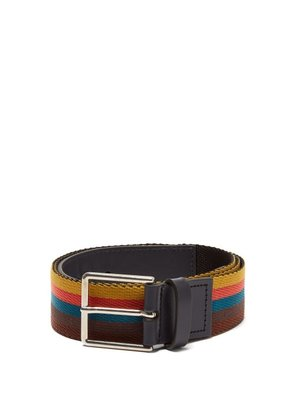 Paul Smith - Bright Stripe Webbing And Leather Belt - Mens - Multi