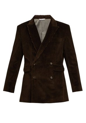 Aries - Corduroy Double Breasted Tailored Jacket - Mens - Brown
