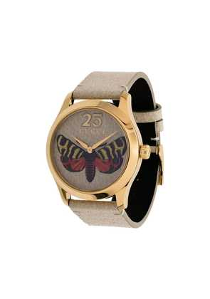 Gucci butterfly embroidered leather watch - Neutrals