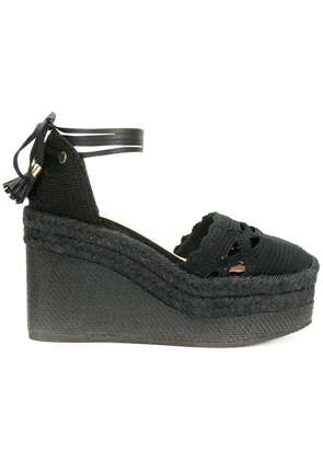 Castañer Iris crocheted espadrille wedges - Black
