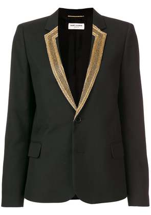 Saint Laurent embroidered-lapel blazer - Black