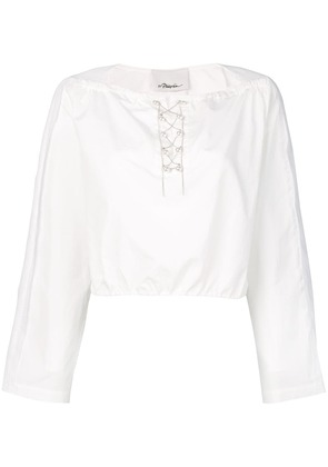 3.1 Phillip Lim pearl-trim cropped top - White
