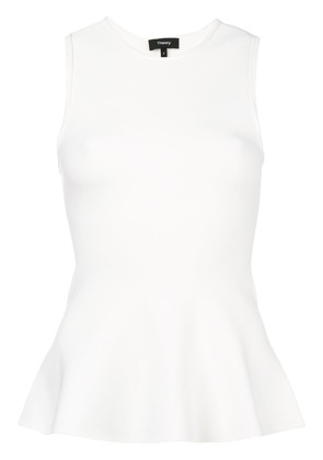 Theory flared fitted vest - White