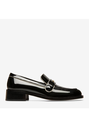 Bally Miya Black, Women's patent leather loafers with 30mm heel in black