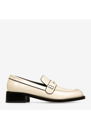 Bally Miya White, Women's patent leather loafers with 30mm heel in bone