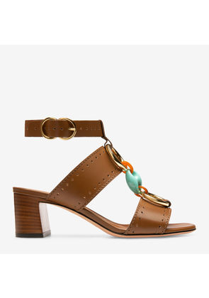 Bally Otta Brown, Women's plain calf leather sandal with 55mm heel in cowboy