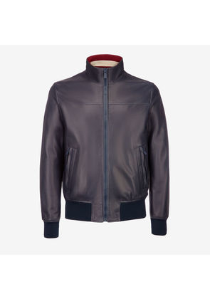 Bally Nappa Leather Jacket Blue, Men's lamb nappa leather jacket in ink