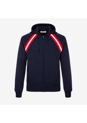 Bally Cotton Knit Lounge Hoodie Blue, Men's cotton knit hoodie in navy