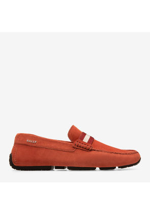 Bally Pearce Red, Men's calf suede driver in ruby