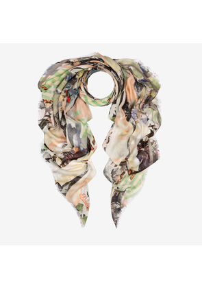 Bally Patchwork Print Scarf Multicolor, Women's printed modal scarf in multi-nude