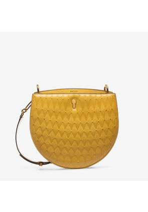 Bally Cecyle Orange, Women's quilted calf leather crossbody bag in gold sand