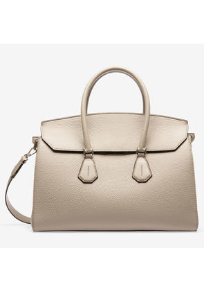 Bally Saphyr Grey, Women's grained calf leather top handle bag in wheat