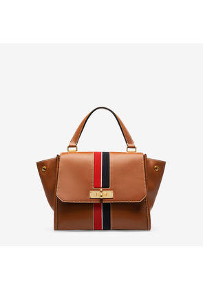 Bally Breeze Brown, Women's small calf leather and ribbon top handle bag in tan