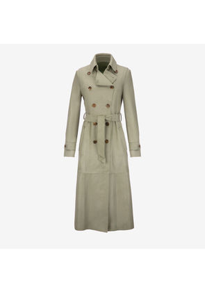 Bally Calf Hair Trench Coat Green, Women's calf hair trench coat in pale green