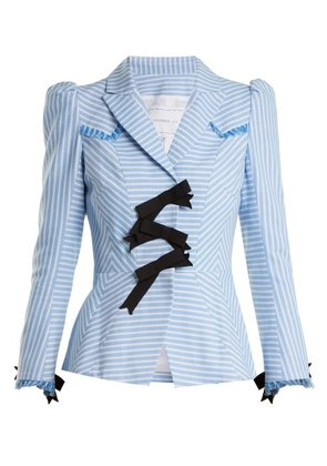 Andrew Gn - Striped Bow Embellished Cotton Jacket - Womens - Blue White
