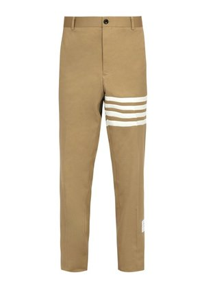 Thom Browne - Mid Rise Cotton Chino Trousers - Mens - Camel