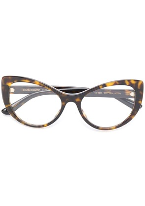 Dolce & Gabbana Eyewear tortoiseshell-effect cat-eye glasses - Brown